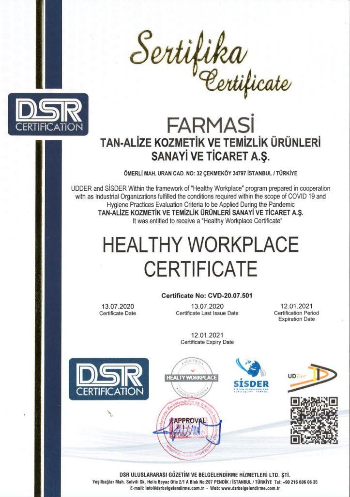 Сертификат Здоровые рабочие места